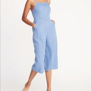 Pants - Wide leg cropped overall style romper